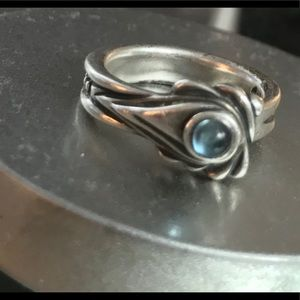 Bill Wall Spoon Ring with Blue Topaz